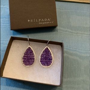 Silpada silver & purple earrings